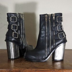 Jeffrey Campbell Zip Metal Buckle Booties